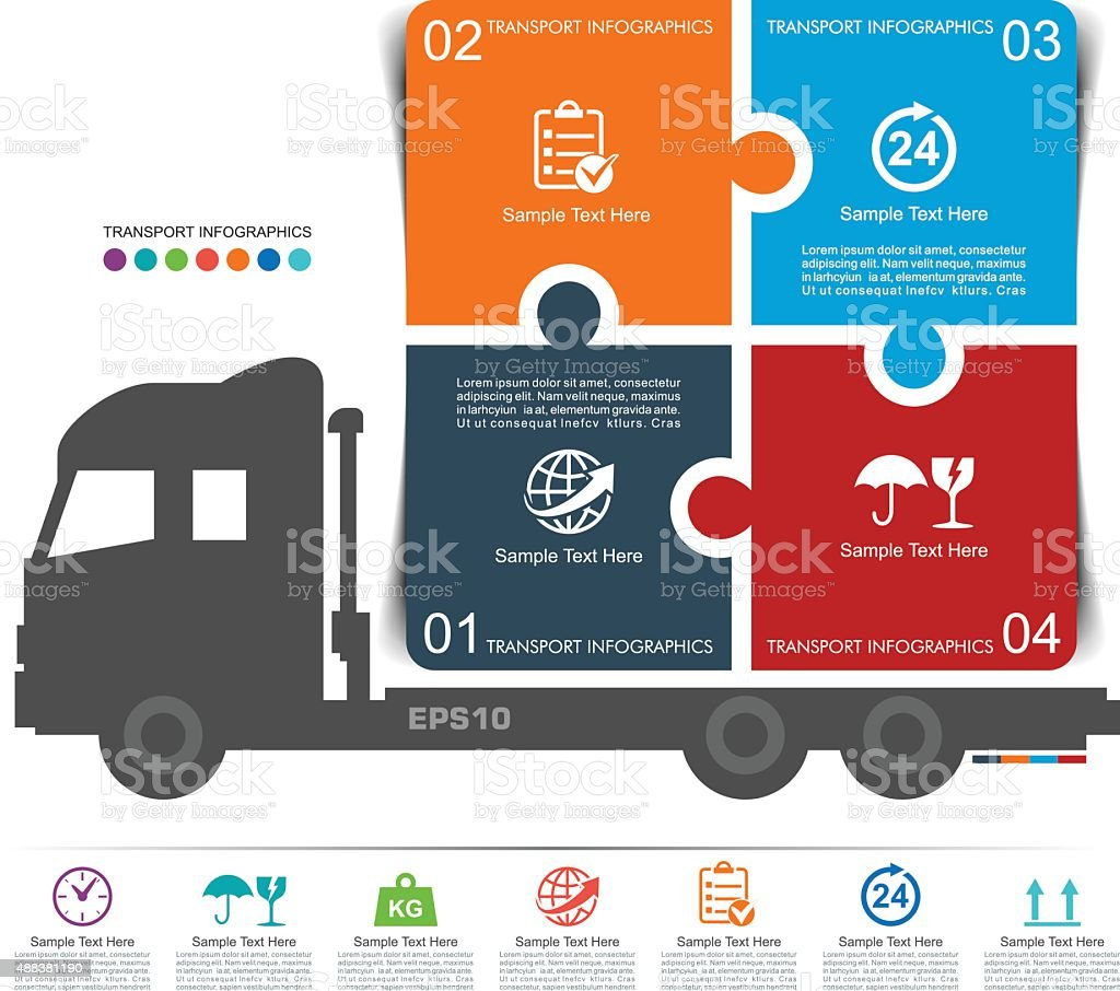 Truck Transport Infographics vector art illustration
