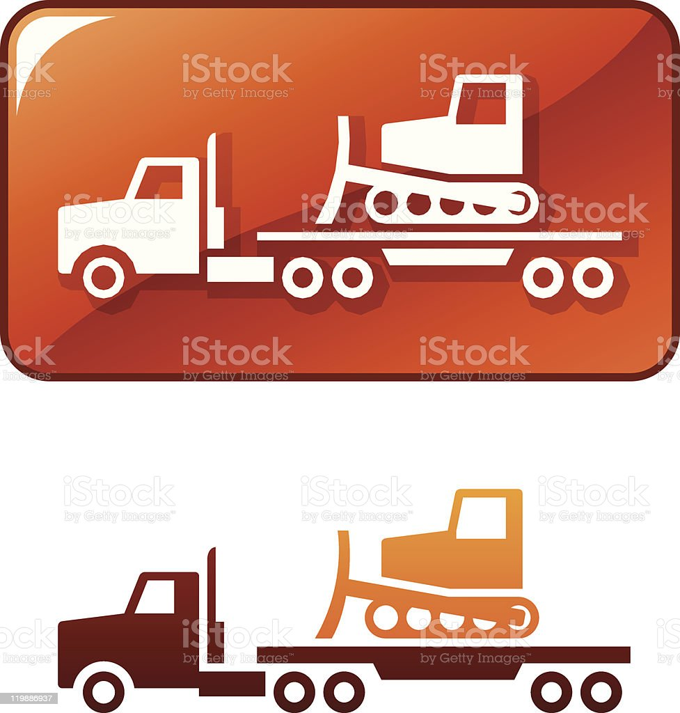 Truck transporting the bulldozer. Vector icon vector art illustration