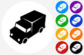 Truck Travel Icon on Flat Color Circle Buttons