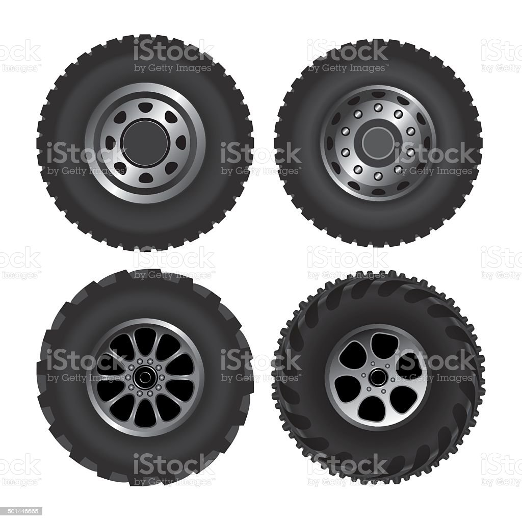 Truck wheels vector art illustration