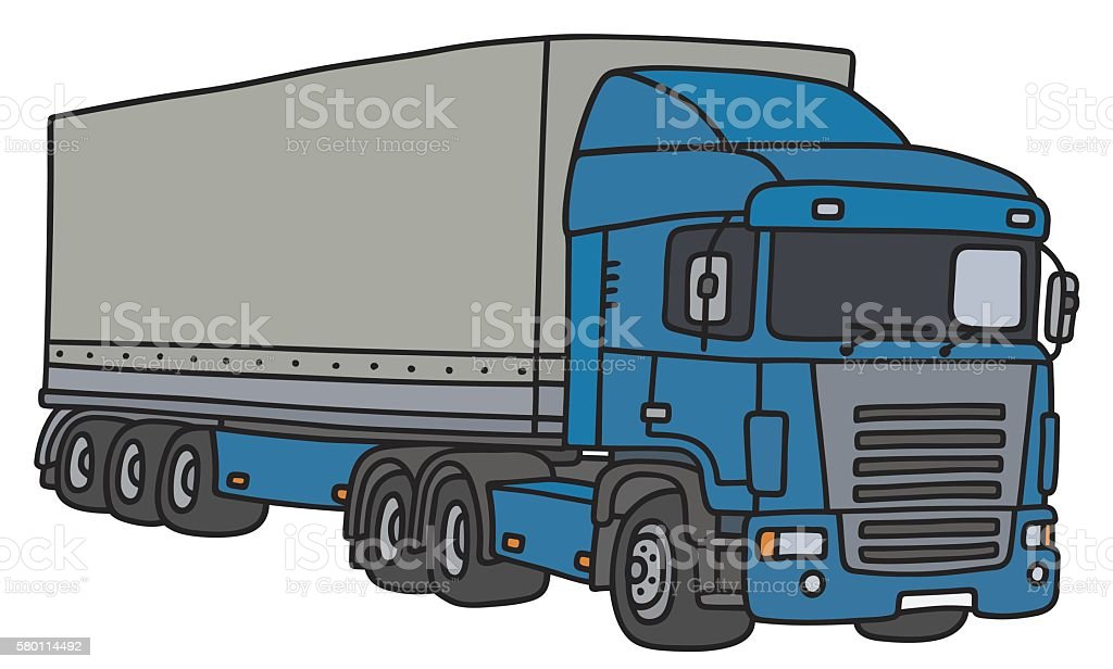 Truck with a cover semitrailer vector art illustration