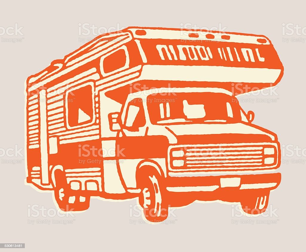 Truck with Camper vector art illustration