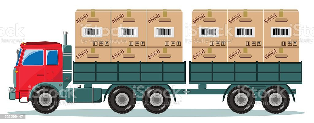 Truck With Cargo Boxes on Trailer, Vector Illustration vector art illustration