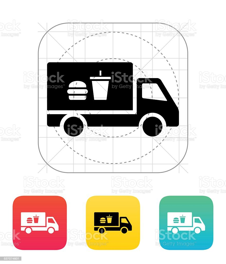 Truck with food icon vector art illustration