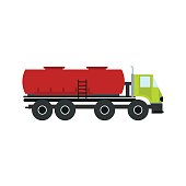 Truck with fuel tank flat icon