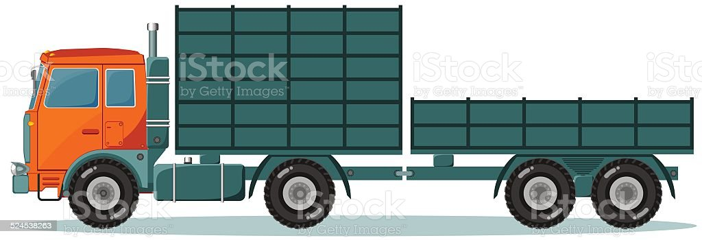 Truck with High and Low Trailers, Vector Illustration vector art illustration