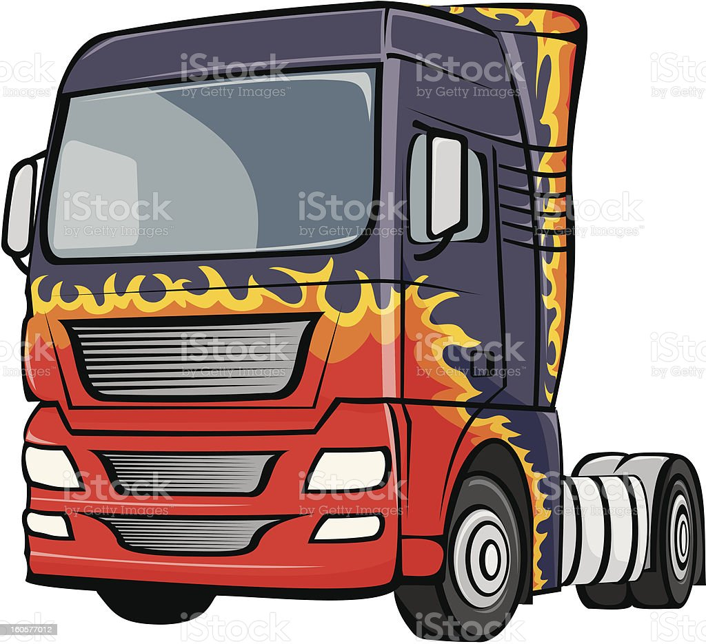 truck with the body in flames royalty-free stock vector art