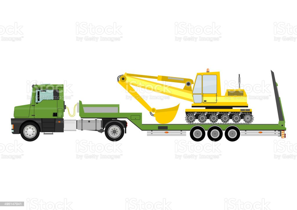 Truck with trailer vector art illustration