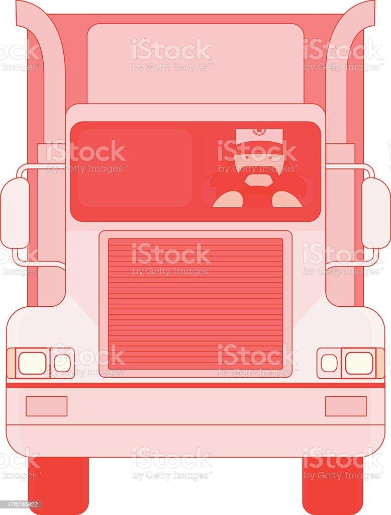 Trucker inside cargo car vector art illustration