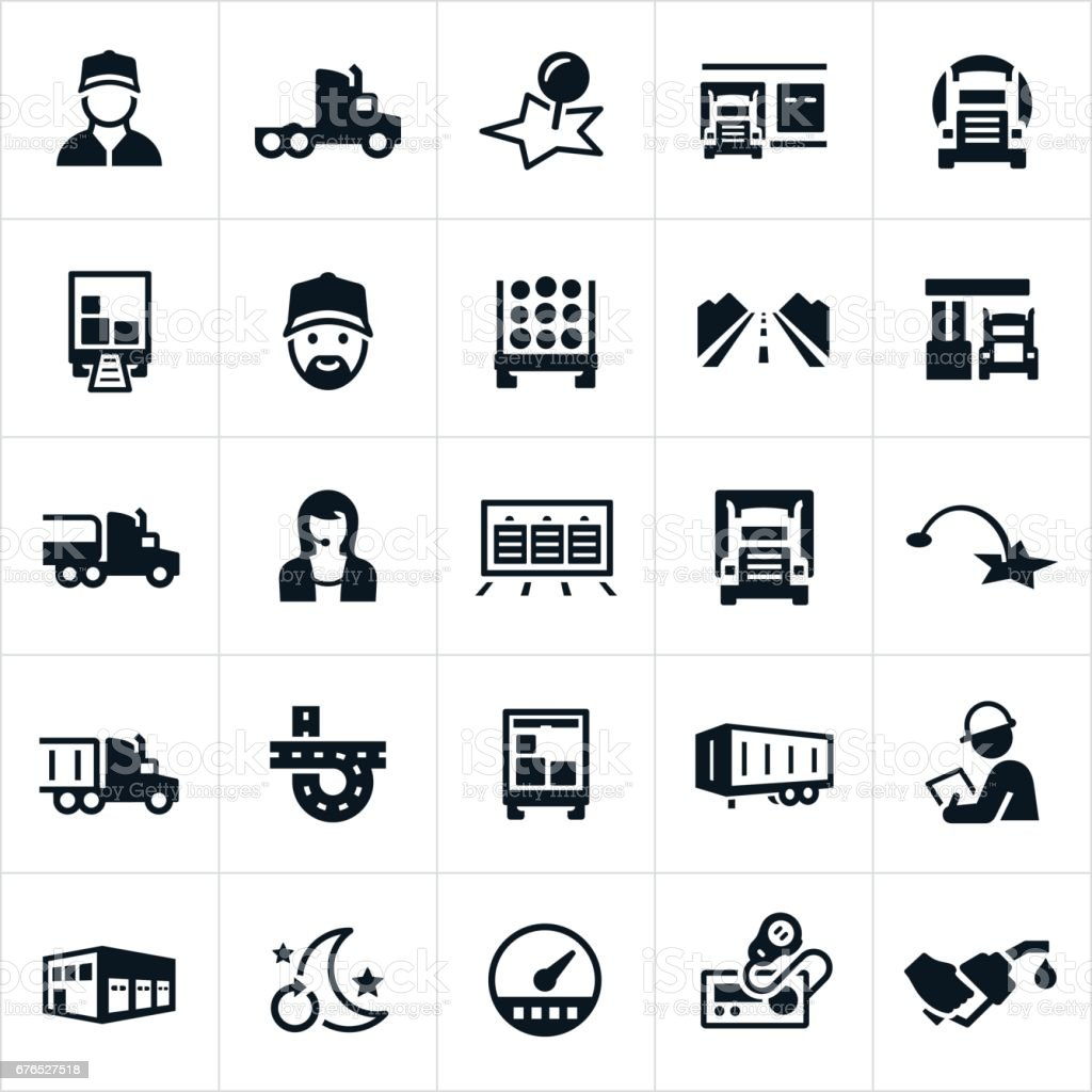 Trucking Industry Icons vector art illustration