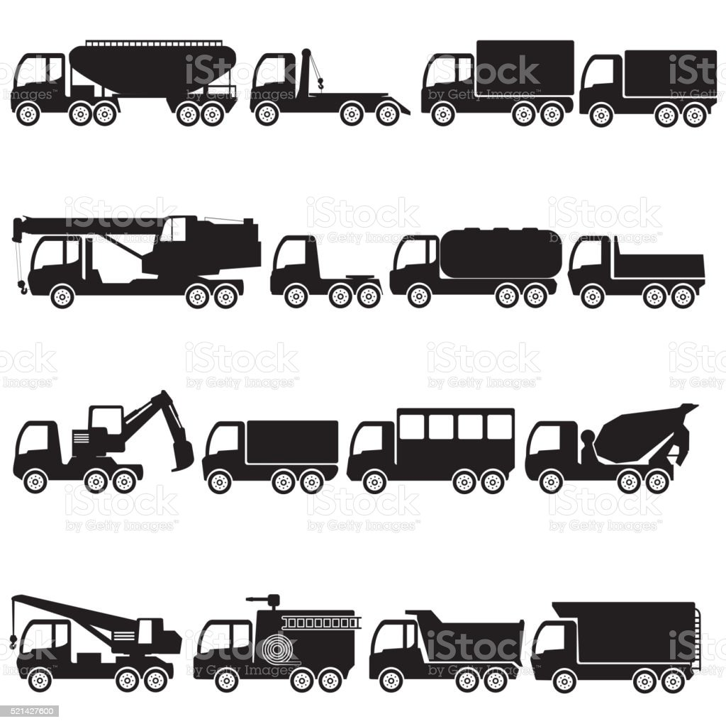 trucks and giant vehicle. vector art illustration