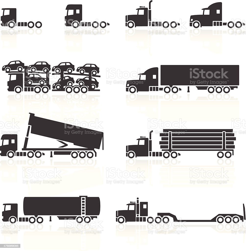 Trucks and Semi-Trailer Icons vector art illustration