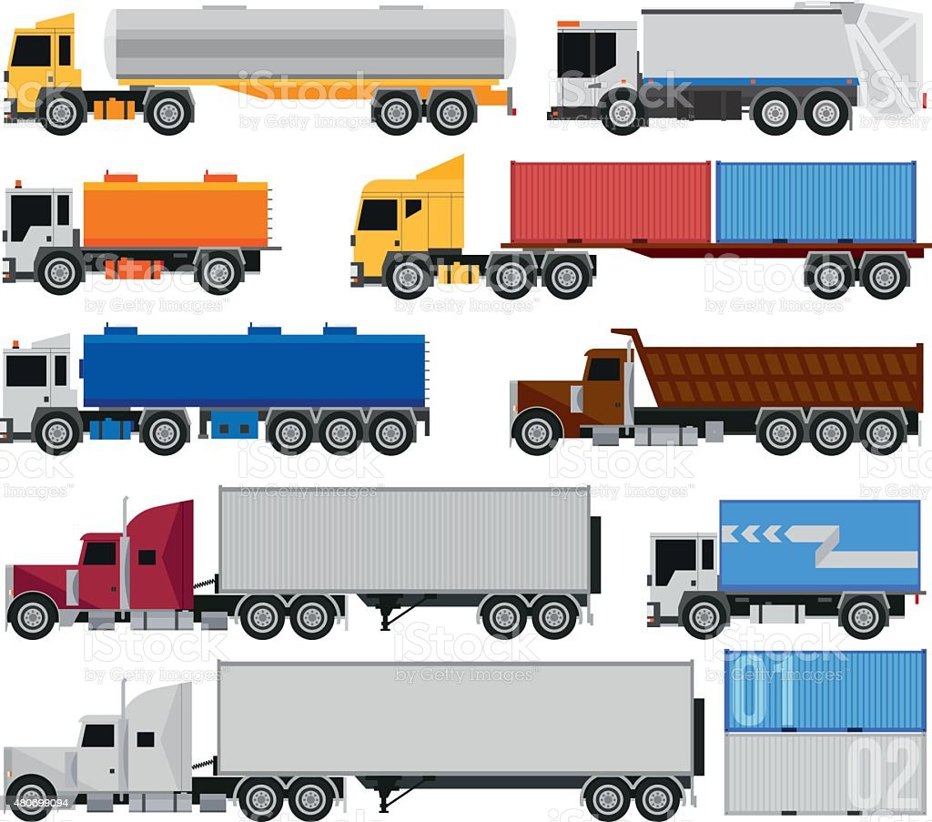 Trucks and trailers vector art illustration