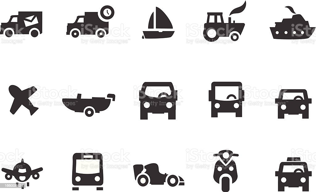 Trucks, Cars and Boat Icons royalty-free stock vector art