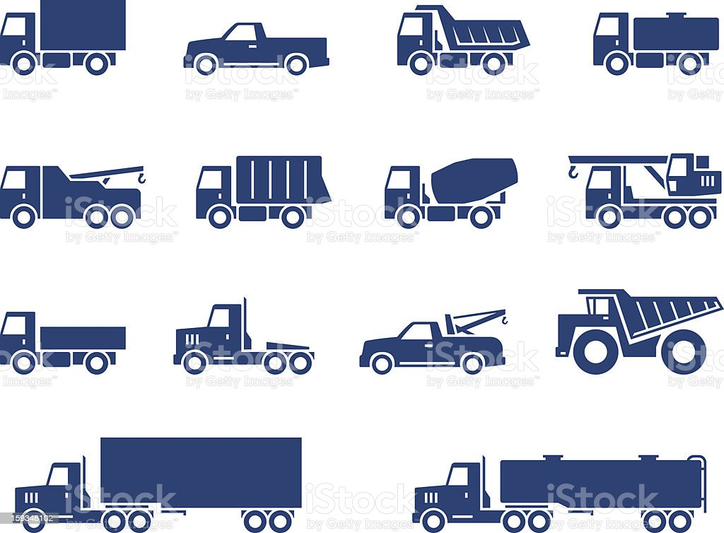 Trucks icons set vector art illustration