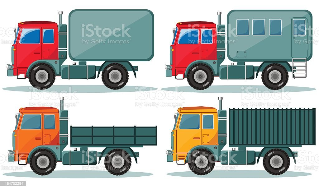 Trucks icons set. Vector of vehicles vector art illustration