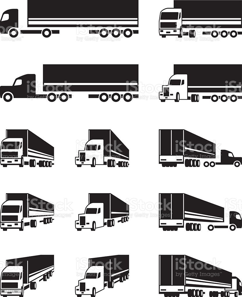 Trucks in different perspective view vector art illustration