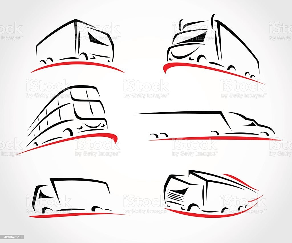 Trucks set. Vector vector art illustration