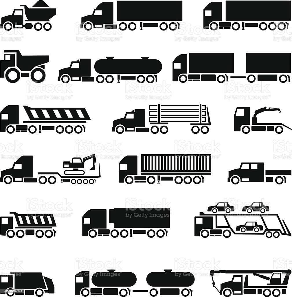 Trucks, trailers and vehicles icons set vector art illustration