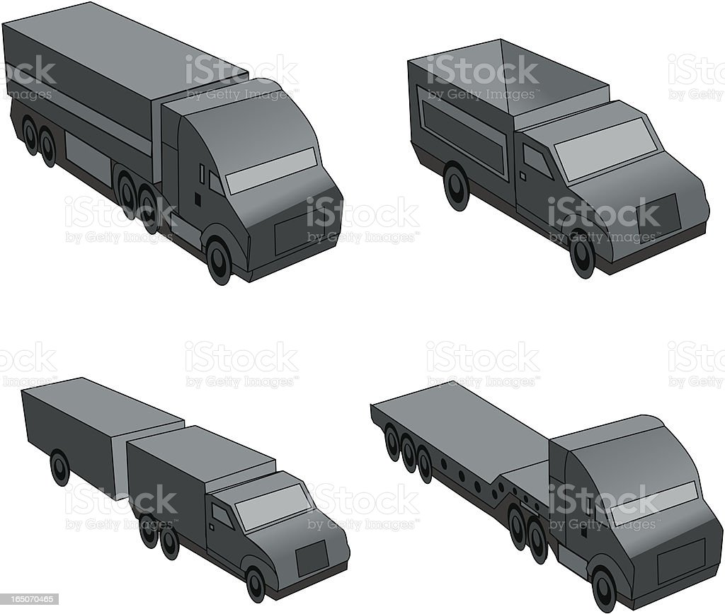 3D Trucks vector art illustration