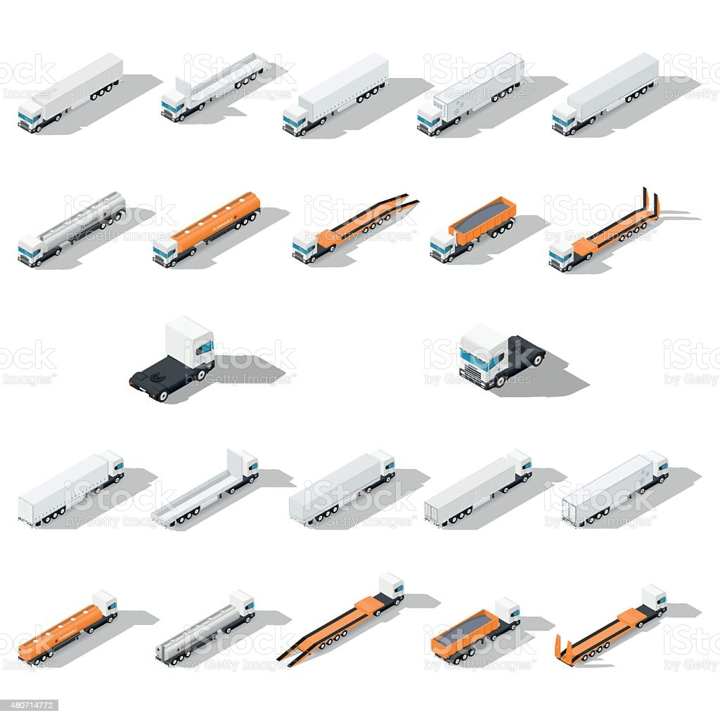 Trucks with semitrailers detailed isometric icon set vector art illustration