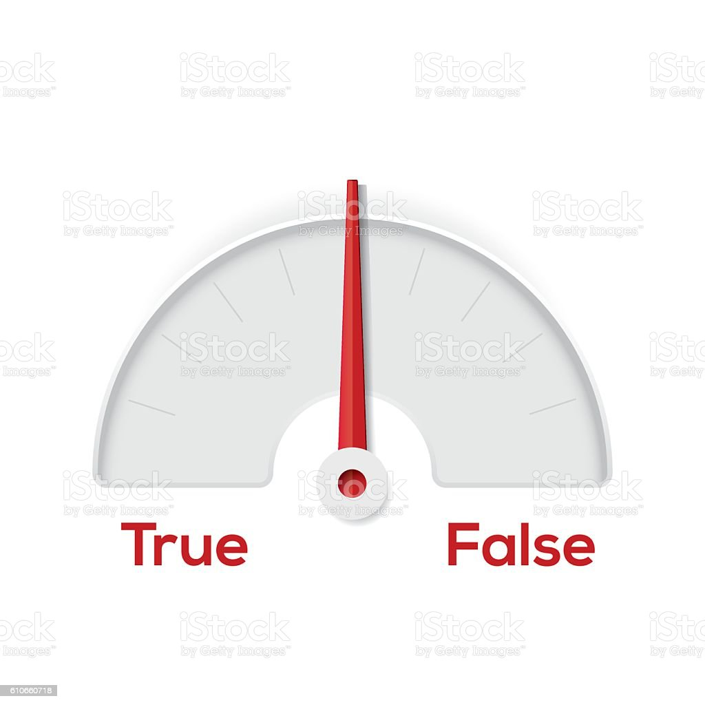 True False indicator gauge vector art illustration