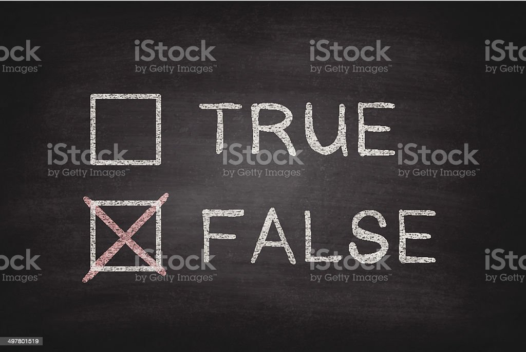 True or False Checkboxes on Blackboard - Chalkboard vector art illustration