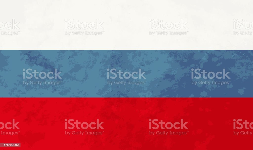 True proportions Russia flag with texture vector art illustration