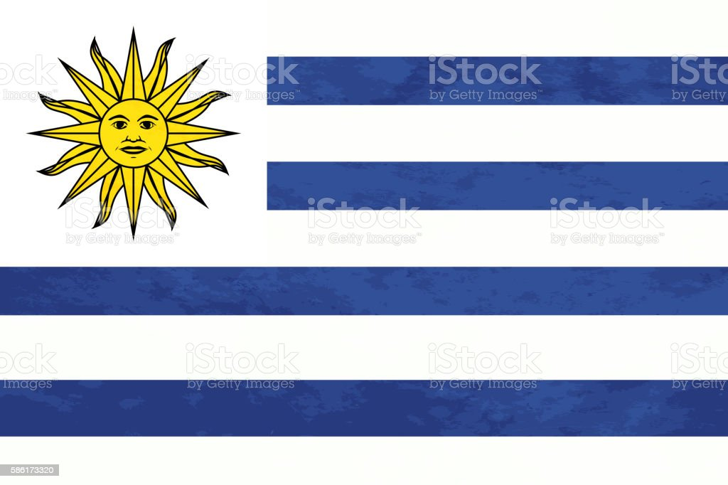 True proportions Uruguay flag with texture vector art illustration