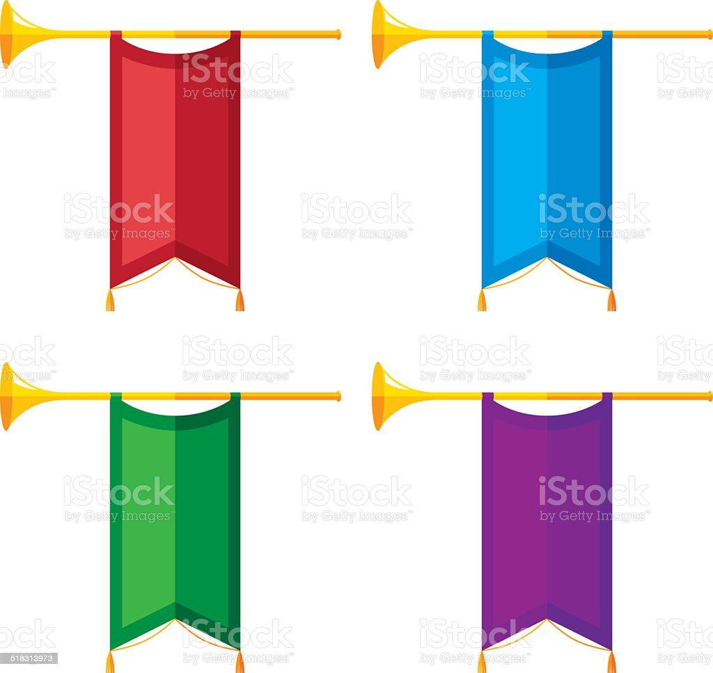 Trumpet Banners Flat vector art illustration