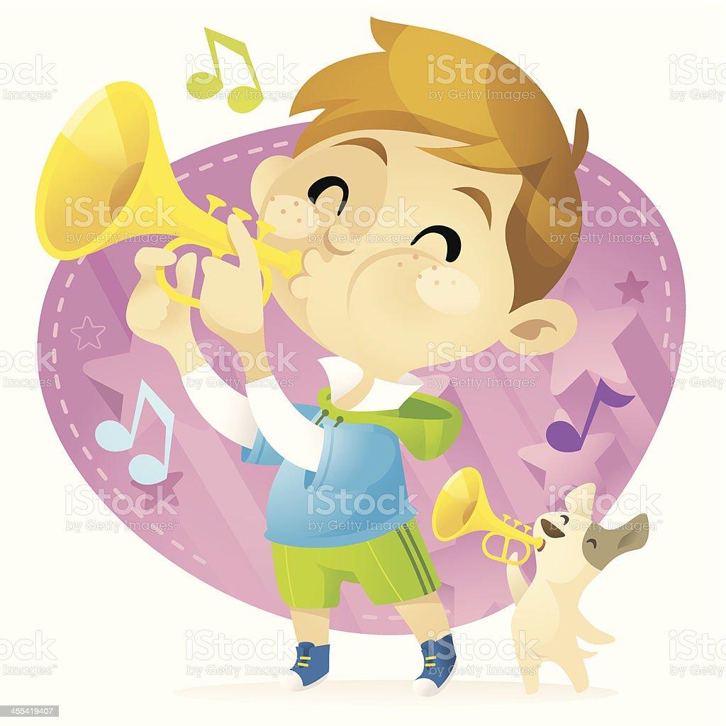 Trumpet Boy vector art illustration