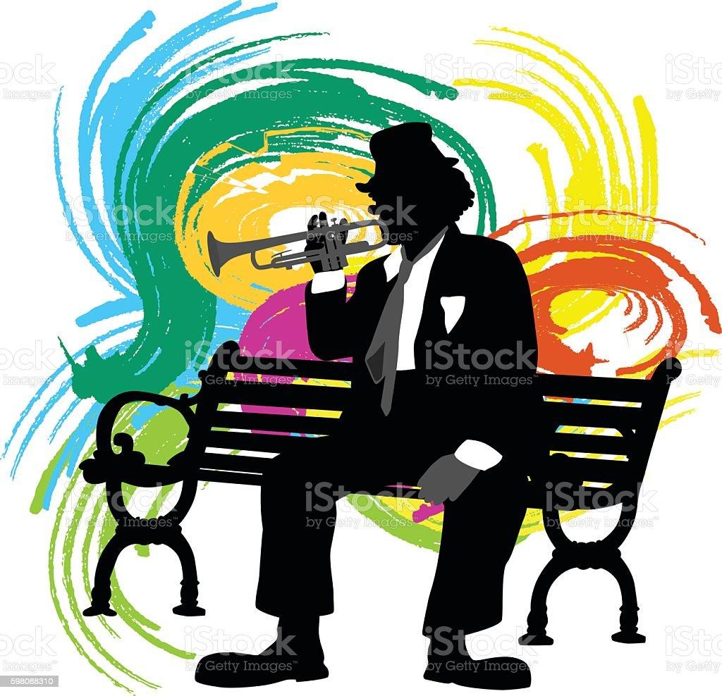 Trumpet Clown Bench Color vector art illustration