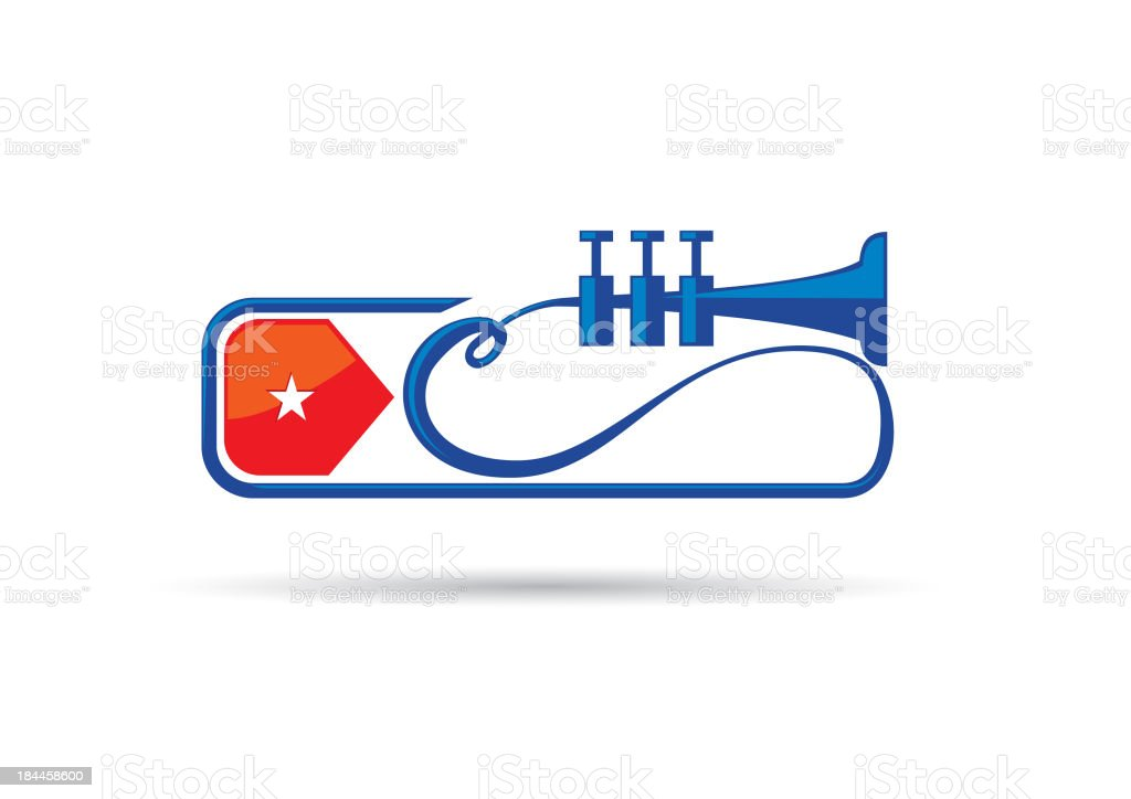 Trumpet Cuban Flag royalty-free stock vector art