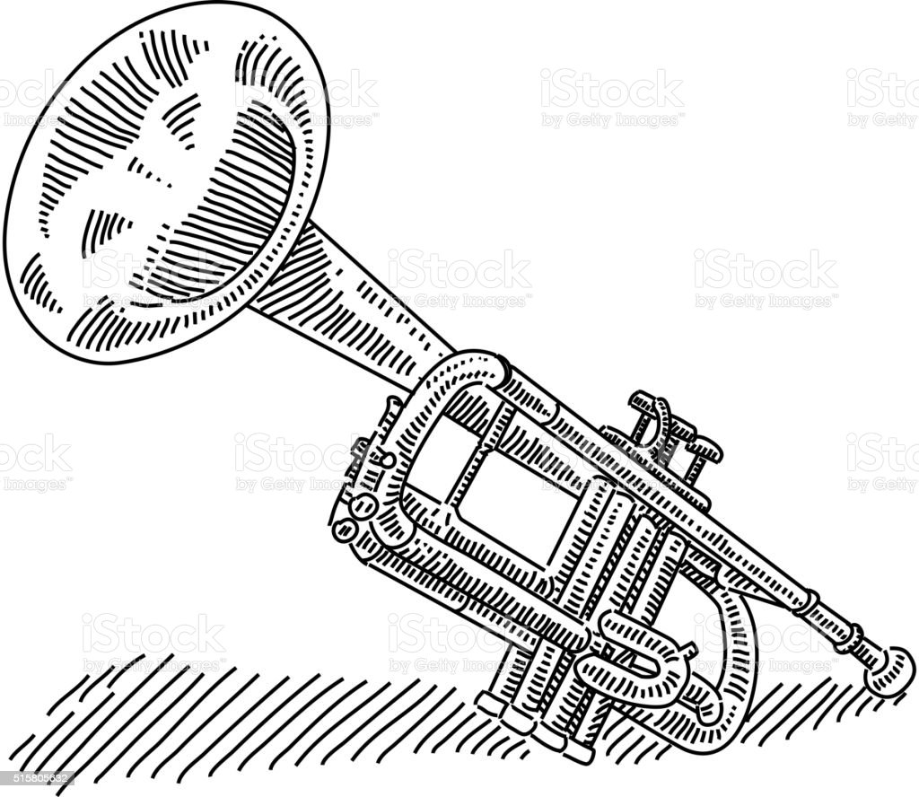 Trumpet drawing vector art illustration