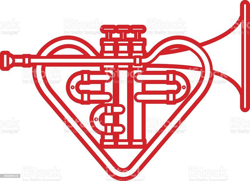 Trumpet Heart vector art illustration