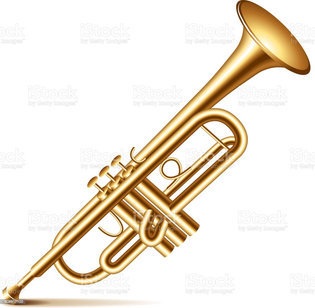 Trumpet isolated on white vector vector art illustration