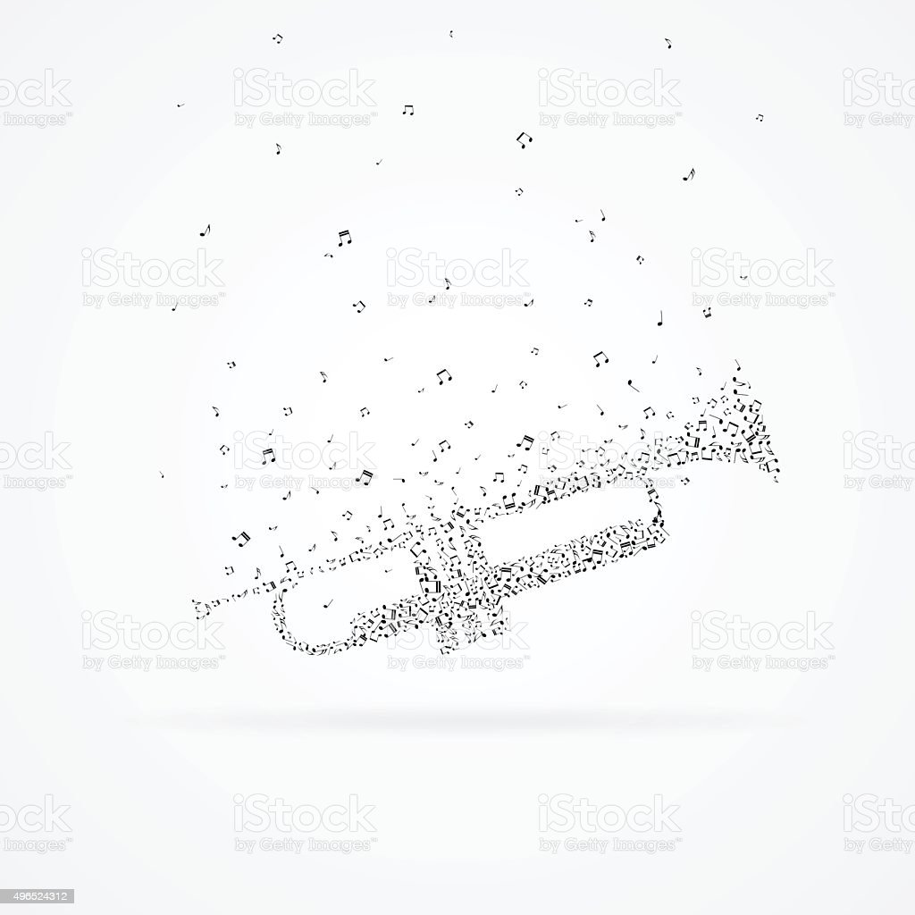 Trumpet made from floating notes. vector art illustration