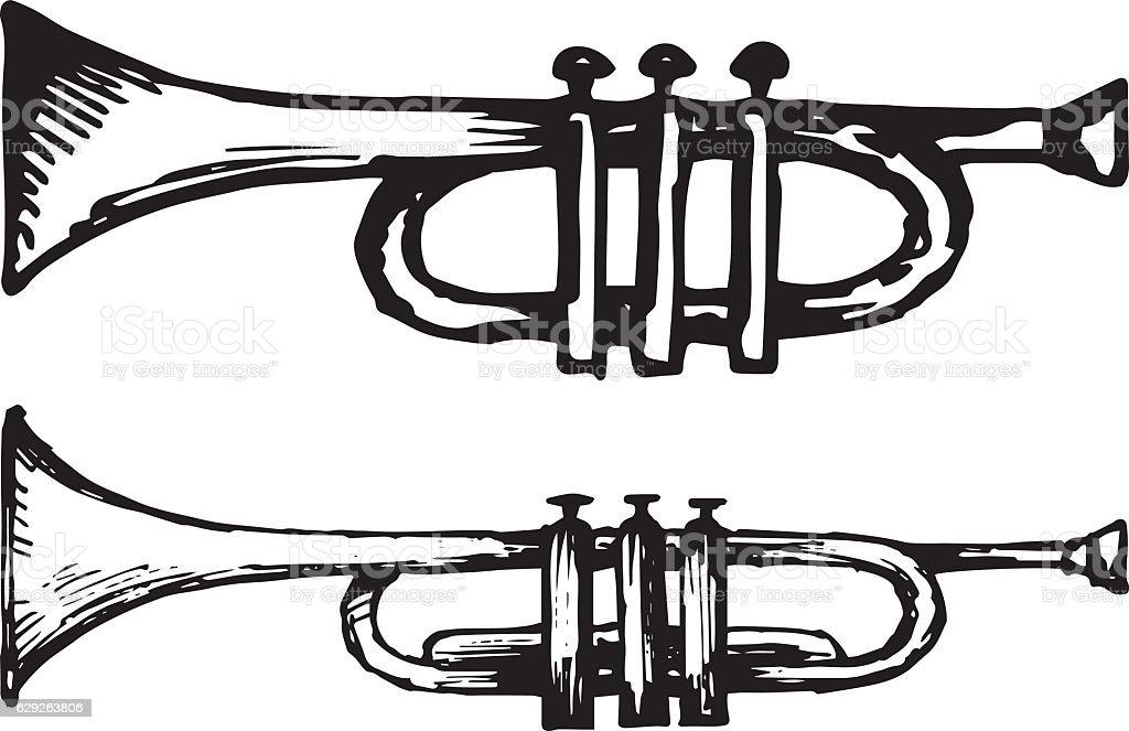 Trumpet, musical instrument vector art illustration