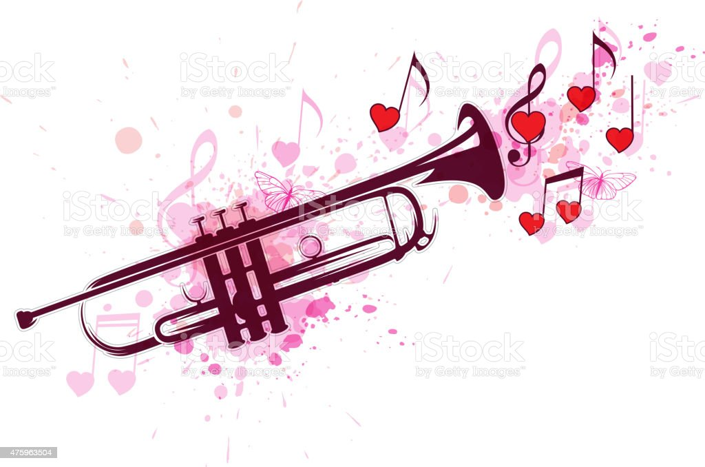 Trumpet, notes and red hearts vector art illustration