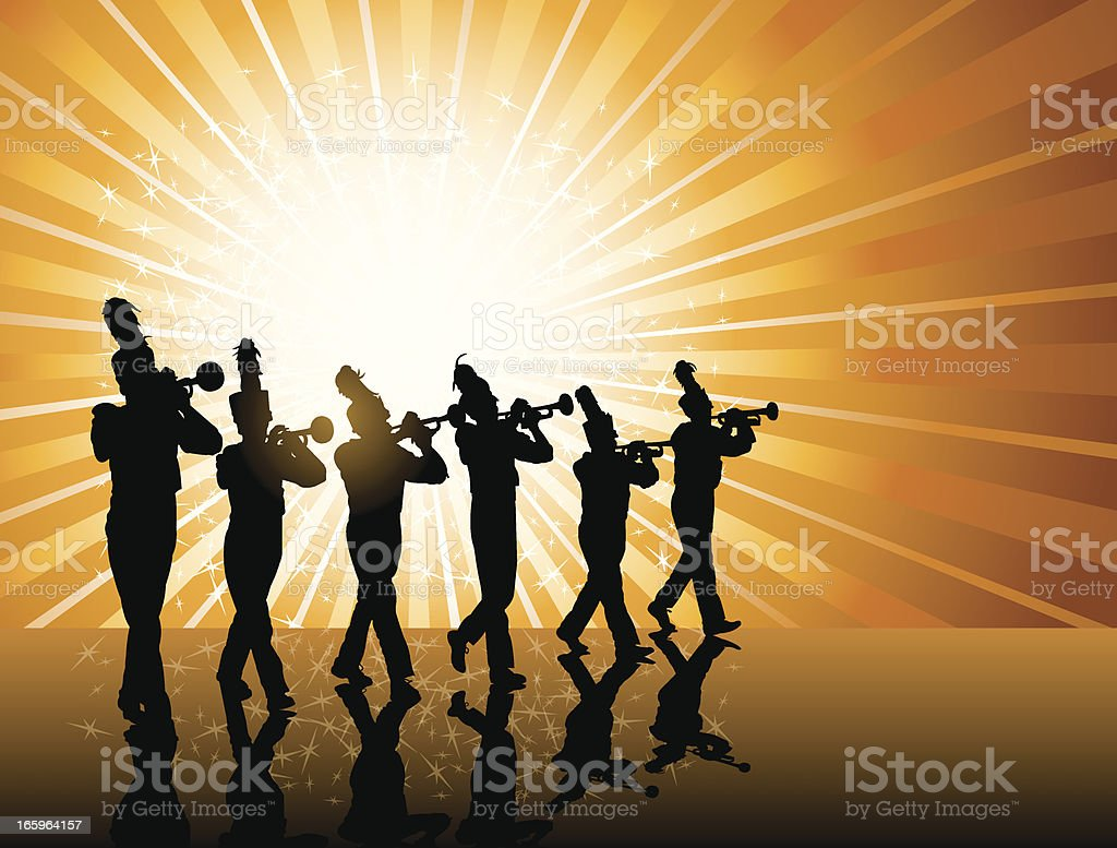Trumpet Player Background - Marching Band royalty-free stock vector art