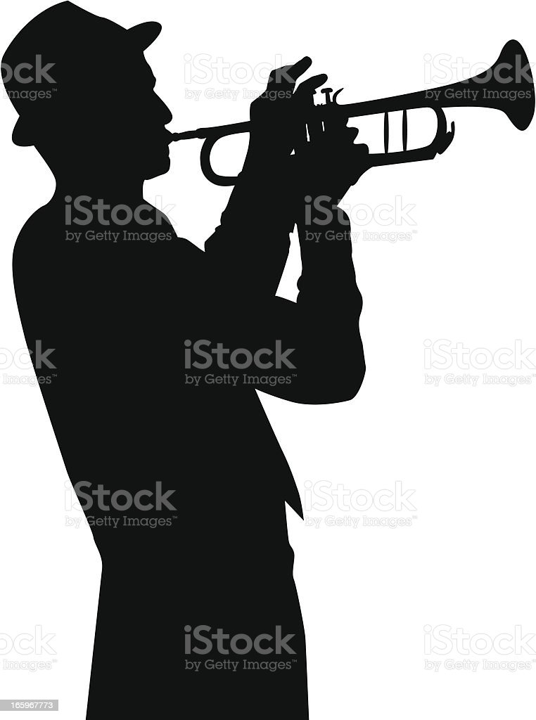 trumpet player vector art illustration