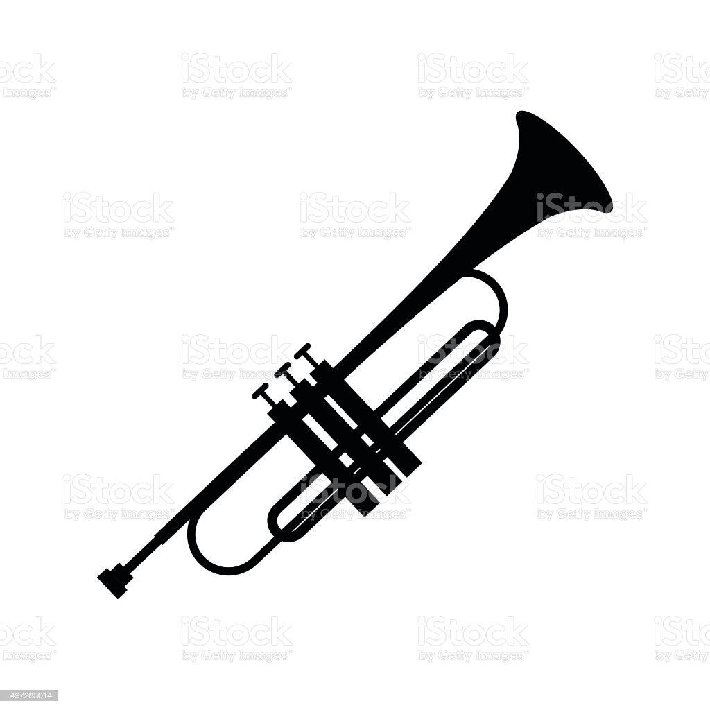 Trumpet simple black icon vector art illustration