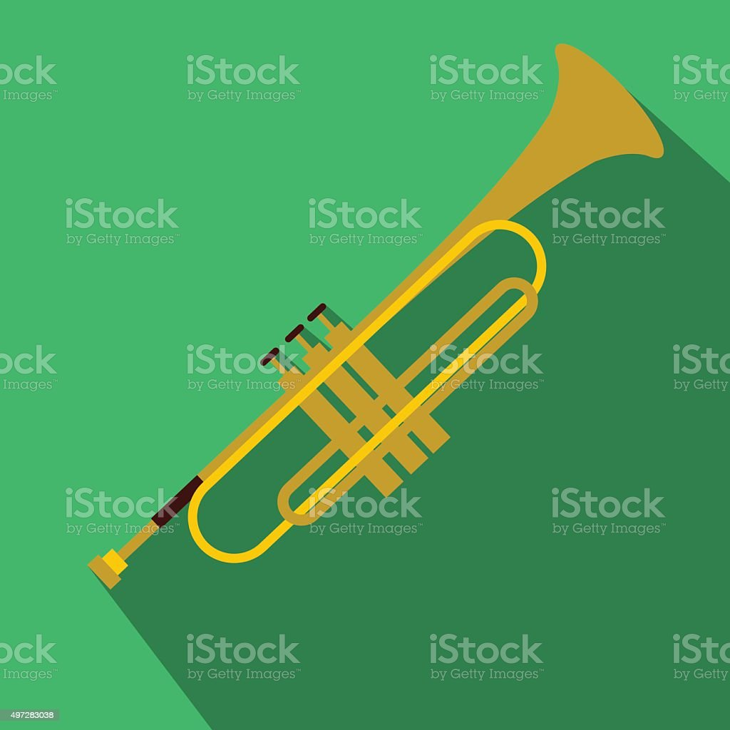 Trumpet simple flat icon vector art illustration