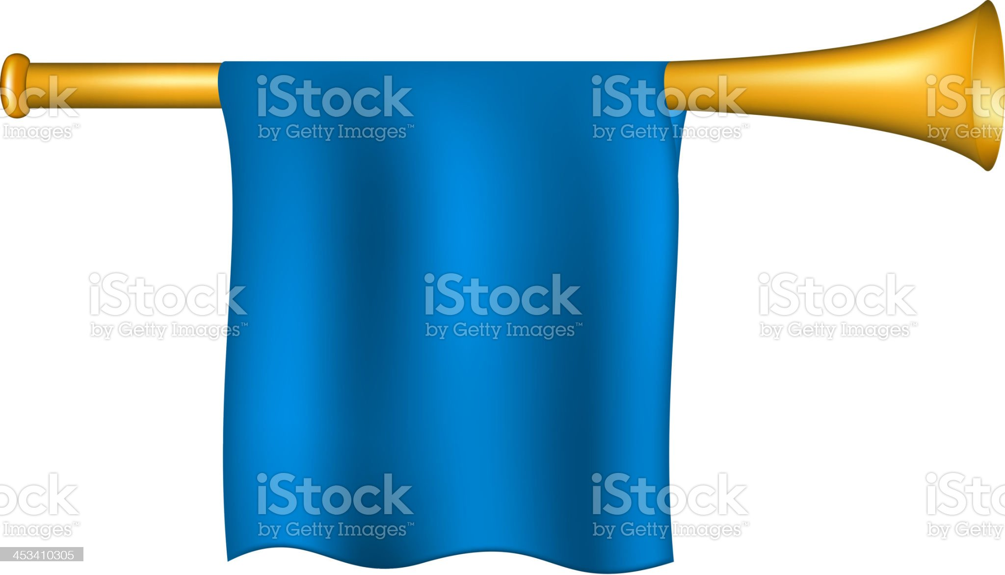 Trumpet with blue flag royalty-free stock vector art