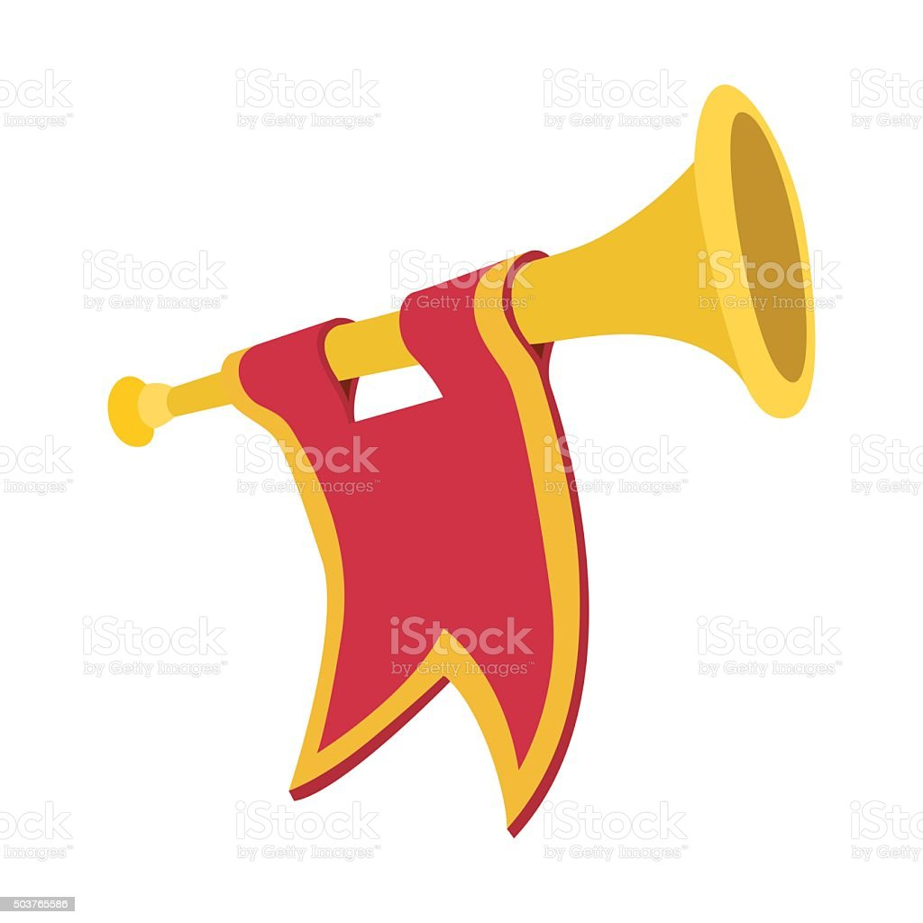 Trumpet with red flag cartoon vector art illustration