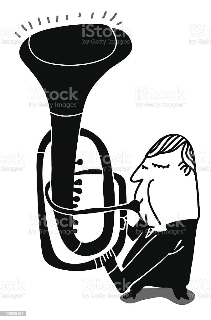 trumpeter play a weird trumpet royalty-free stock vector art