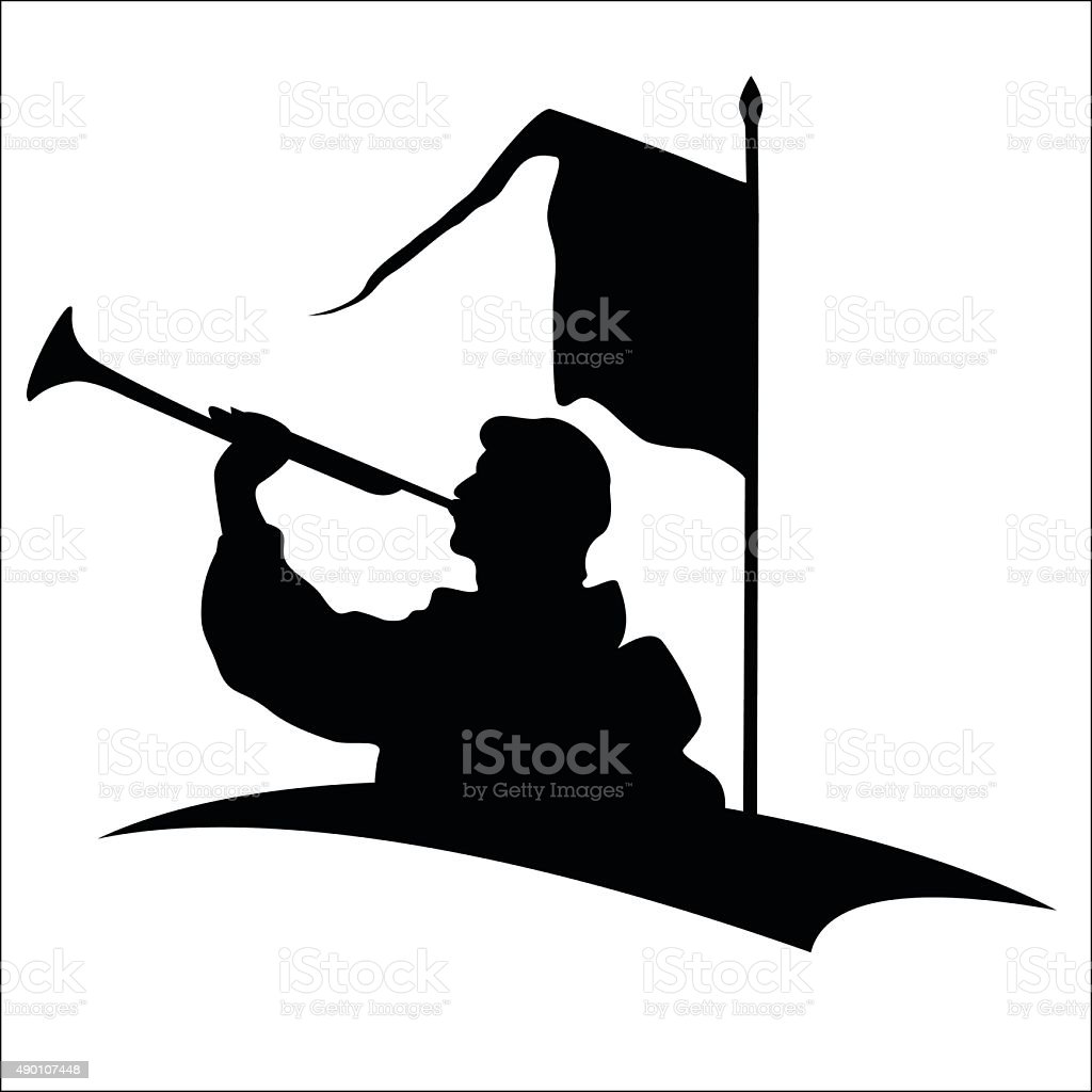 Trumpeter silhouette royalty-free stock vector art