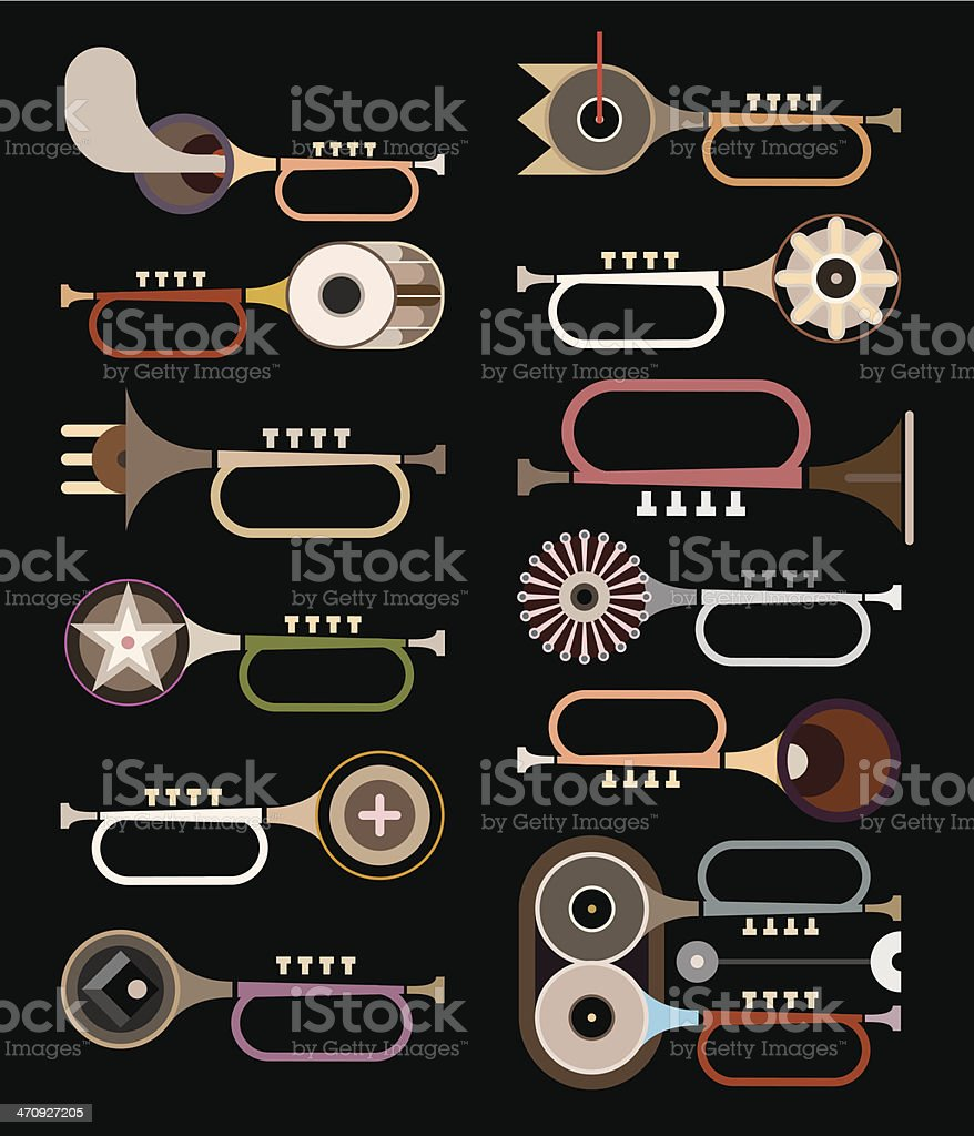 Trumpets - vector background royalty-free stock vector art