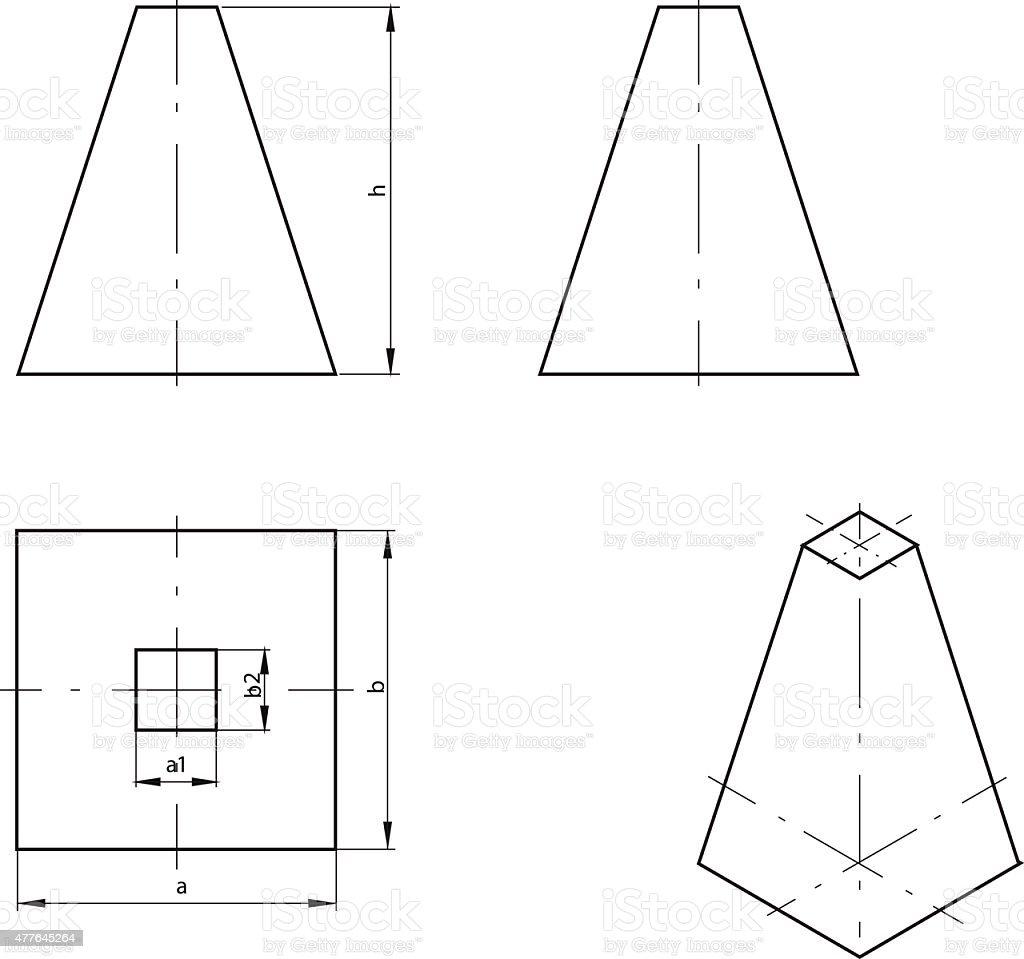 Truncated pyramid vector art illustration