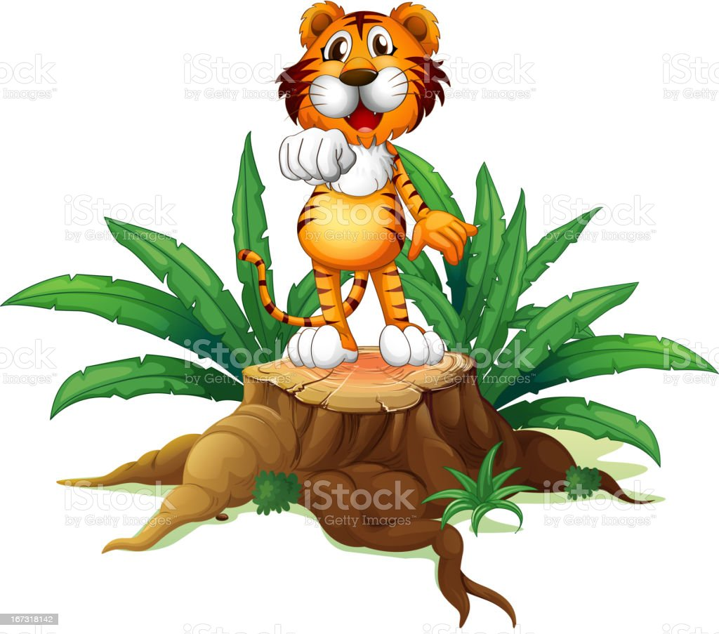 Trunk with a tiger at the top royalty-free stock vector art
